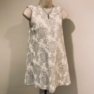 A-Line Mod Silver Embroidered Glam High Neck Tunic